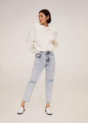 MANGO Faded Mom-fit jeans bleach blue - 1 - Women