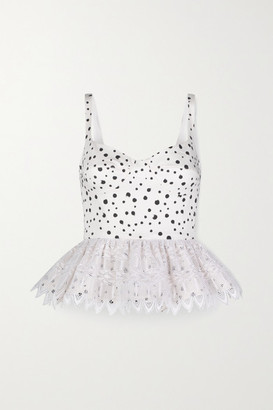 Silvia Tcherassi La Banquera Crochet-trimmed Polka-dot Cotton-blend Peplum Top - White