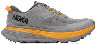Hoka One One Grey and Orange Stinson ATR 6 Sneakers