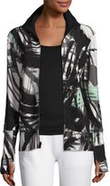Norma Kamali Printed Turtleneck Zip-Front Jacket, Graffiti