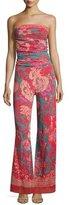Fuzzi Dragonessa Strapless Tulle Jumpsuit, Pink Pattern