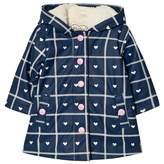 Hatley Navy Heart Print Sherpa Lined Raincoat