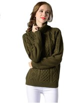 Aoibox Women's Winter Slim long-sleeved Turtleneck Solid Color Knit Sweater