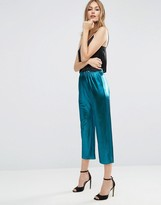 Asos Metallic Pleated Plisse Culotte Pants