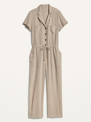 Old Navy Linen-Blend Tie-Front Utility Jumpsuit for Women