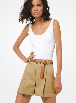 Michael Kors Cotton-Twill Tap Shorts