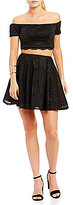 Sequin Hearts Lace Off-The-Shoulder Top High-Waist Skirt Two-Piece Dress