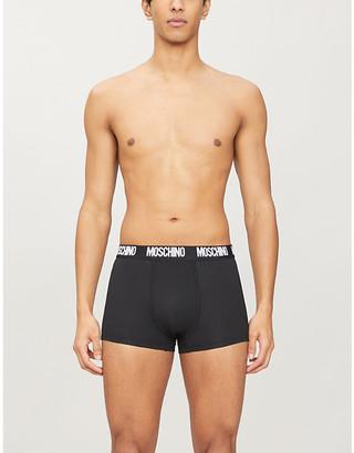 Moschino Branded-waistband stretch-cotton trunks