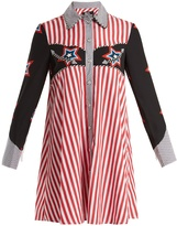 House of Holland Star and stripe-print contrast cotton shirtdress