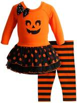 Youngland Orange Pumpkin Tunic & Leggings Set - Toddler & Girls