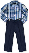 Nautica 4-Pc. Madras Plaid Shirt, Pants, Bowtie & Suspenders Set, Baby Boys