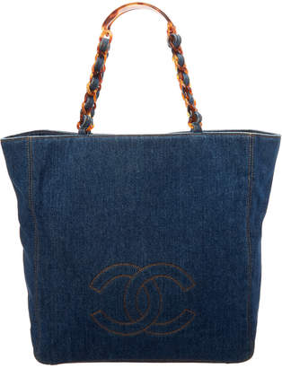 Chanel Blue Denim Large Bekko Chain Cc Tote