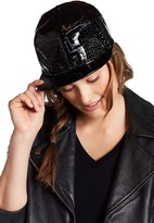 Steve Madden Metallic Croc Embossed Faux Leather Snapback Hat