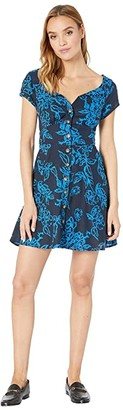 Free People A Thing Called Love Mini Dress (Blue Combo) Women's Dress