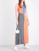 Diane von Furstenberg Gingham-panel stretch-silk maxi dress