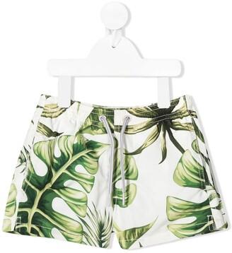 MC2 Saint Barth Jumbo Leaves Print Swim Shorts