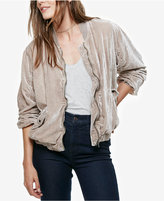 Free People Velvet Ruched Bomber Jacket