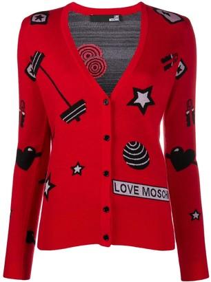 Love Moschino Motif-Jacquard Cardigan