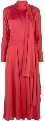 Sies Marjan Crepe Satin Tie Neck Midi Dress