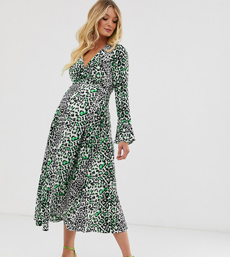 ASOS DESIGN Maternity wrap maxi dress in neon leopard print