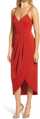 Lulus Reinette V-Neck Midi Dress