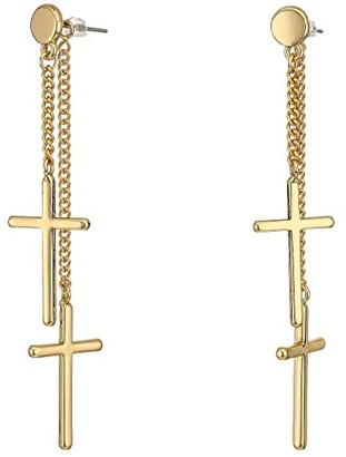GUESS Clean Cross Front To Back Earrings
