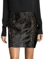 Elie Tahari Abienne Lace-Up Leopard-Print Calf Hair Skirt