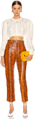 GRLFRND Shiloh Leather Pant in Orange Snake   FWRD