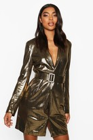 boohoo Tall Metallic Belted Blazer Dress