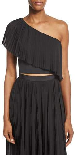 Nicholas Plisse One-Shoulder Crop Top, Black