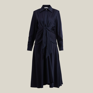 Victoria Beckham Blue Tie-Waist Button-Down Silk Dress UK 8