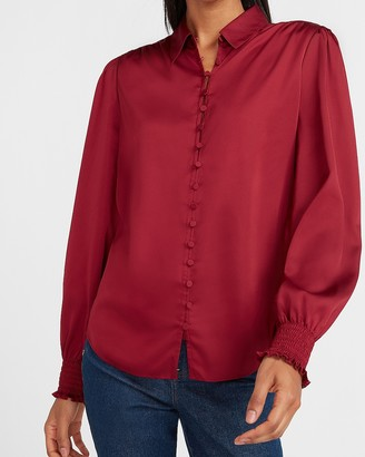 Express Satin Smocked Cuff Portofino Shirt