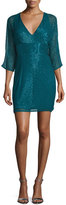 Aidan Mattox 3/4-Sleeve Beaded Cocktail Dress, Teal