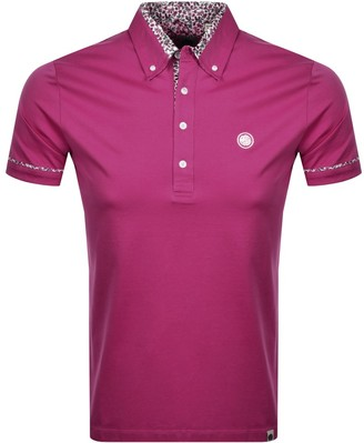Pretty Green Floral Collar Polo T Shirt Pink
