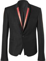 Haider Ackermann Black Slim-Fit Contrast-Trimmed Linen-Blend Blazer