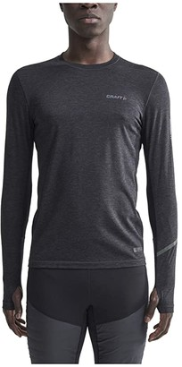 Craft Subz Long Sleeve Wool Tee (Black Melange/Monument) Men's Clothing