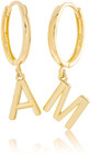 STONE AND STRAND 14k Gold Initial Huggie Earrings