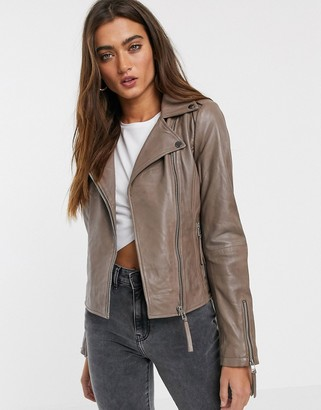 Pepe Jeans Bette leather biker jacket in taupe-Grey