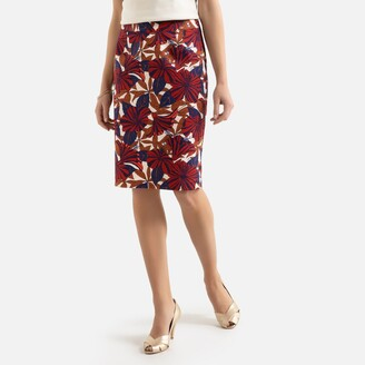 Anne Weyburn Cotton Mid-Length Straight Skirt in Floral Print