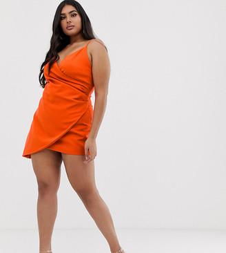 Club L London London Plus mini asymmetric cami strap mini dress in orange