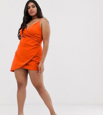 Club L London Plus Club L London London Plus mini asymmetric cami strap mini dress in orange