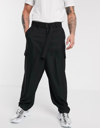 ASOS DESIGN smart oversized pants with faux cargo pockets and clip belt in black