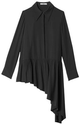 Tibi Silk Asymmetric Ruffle Blouse in Black