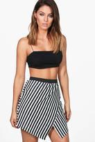 Boohoo Ana Asymetric Stripe Front Mini Skirt