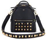 Fendi Studded Leather Shoulder Bag - Black