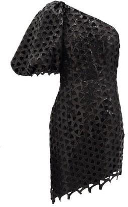 Aje Motorcylette One-shoulder Sequinned Mini Dress - Black