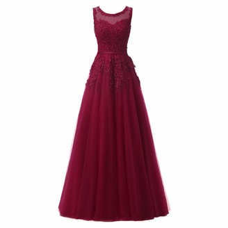 IMEKIS Women Elegant Occasion Dress Sleeveless Bridesmaid Wedding Evening Gown Formal Lace Applique Dress Cocktail Tulle Party Maxi Prom Gown Burgundy UK 26