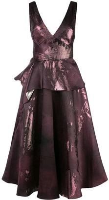 Marchesa Notte Metallic-Print Flared Dress