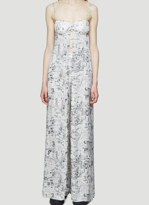 Off-White Printed Bustier Front Slit Maxi Dress