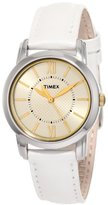 Timex Women's T2N682 Elevated Classics Dress Uptown Chic Champagne Dial Leather Strap Watch
